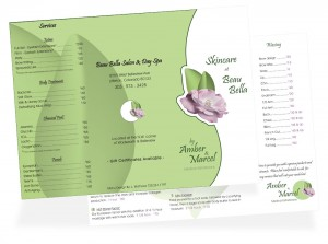 Front and back of salon menu