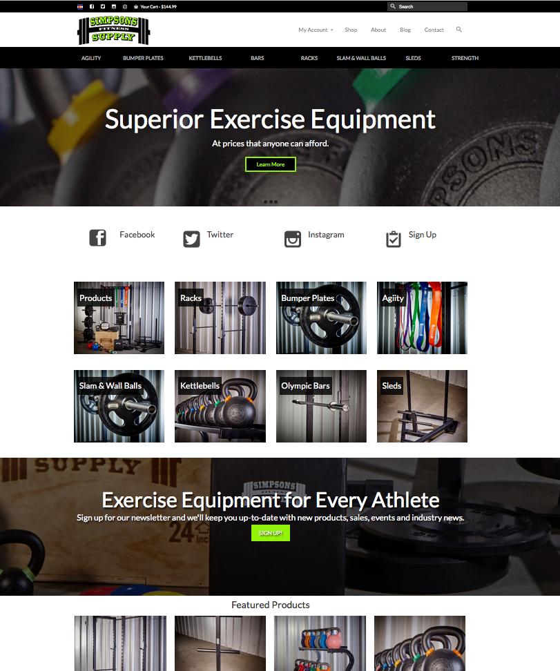 Simpsons Fitness Supply Website
