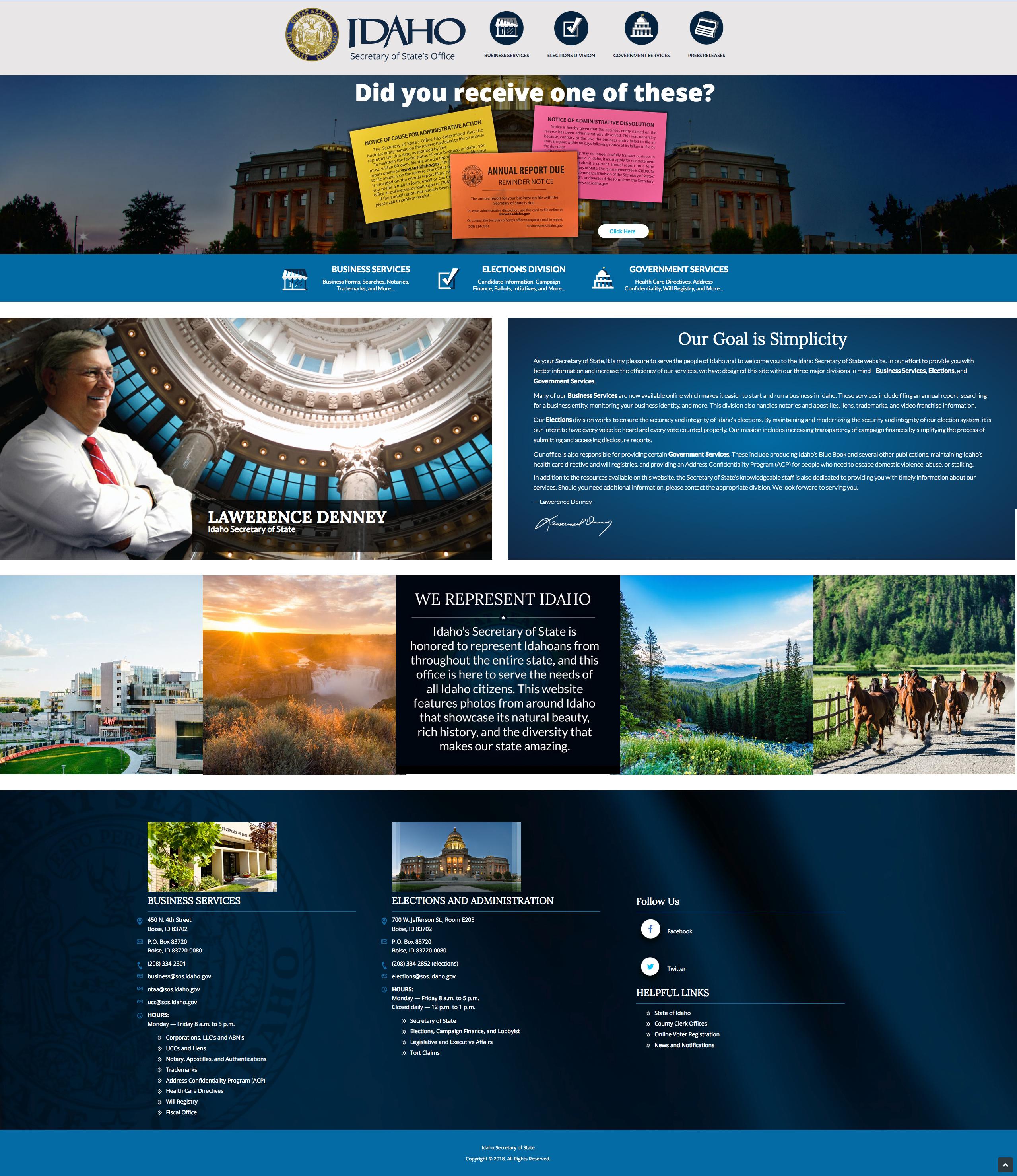 Idaho Secretary of State Website